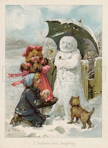 Children imagining a snowman is laughing