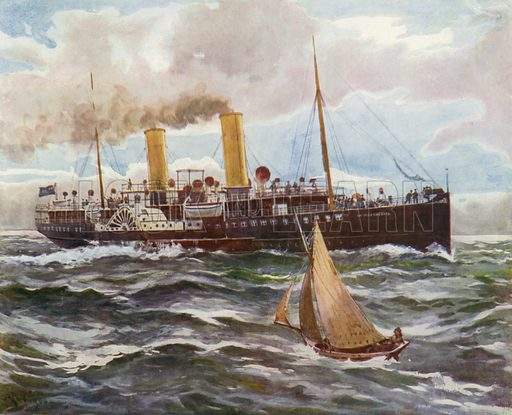 Paddle steamer La Marguerite in the Thames Estuary carrying day trippers from London to Margate. Illustration for The Red White and Blue (Thomas Nelson, c 1906).