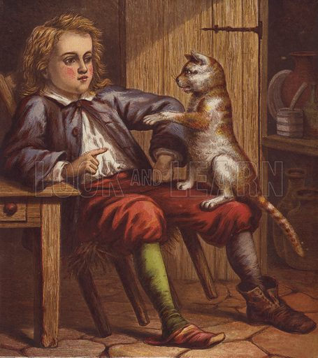 Illustration for Puss in Boots (George Routledge, c 1880).  Printed by Kronheim.