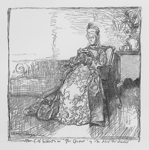Mrs G H Gilbert as Mrs Candour, The School For Scandal.  Illustration for Sheridan's Comedies (James R Osgood, 1885).