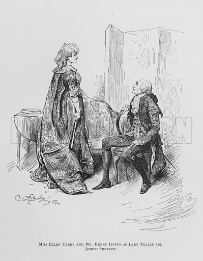Miss Ellen Terry and Mr Henry Irving as Lady Teazle and Joseph Surface, The School for Scandal.  Illustration for Sheridan's Comedies (James R Osgood, 1885).