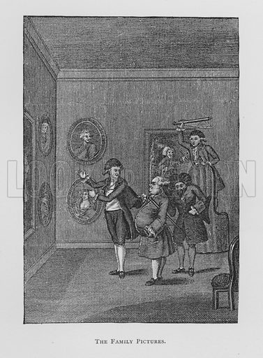 Frontispiece to original edition of The School For Scandal, 1785.  Illustration for Sheridan's Comedies (James R Osgood, 1885).