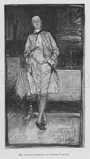 Mr Charles Coghlan as Charles Surface, The School For Scandal.  Illustration for Sheridan's Comedies (James R Osgood, 1885).