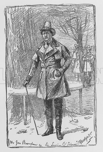 Mr John Brougham as Sir Lucius O'Trigger, The Rivals.  Illustration for Sheridan's Comedies (James R Osgood, 1885).