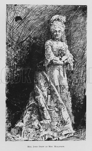 Mrs John Drew as Mrs Malaprop, The Rivals.  Illustration for Sheridan's Comedies (James R Osgood, 1885).