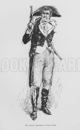 Mr Joseph Jefferson as Bob Acres, The Rivals.  Illustration for Sheridan's Comedies (James R Osgood, 1885).