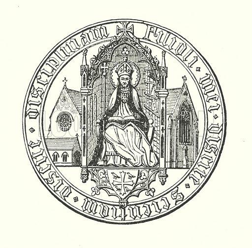 Seal of St Edmund.  Illustration for A Series of Views of St Edmund's College, Old Hall, Ware (Edmundian Association, 1895).
