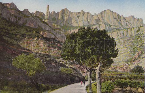 Montserrat: La muntanya des de la carretera de Monistrol; La Montana desde la carretera de Monistrol.  Illustration for Montserrat (Bas D'Igualada, Estamper, c 1910).