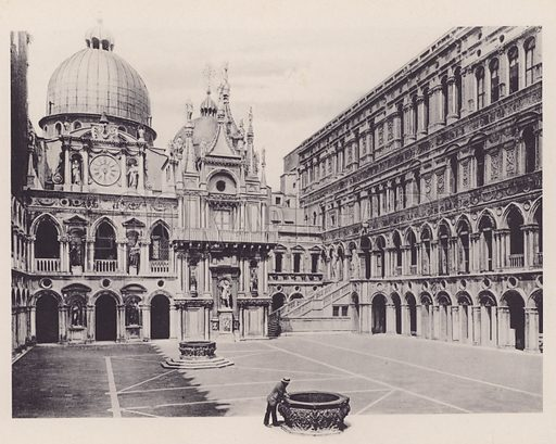 Cortile de Palazzo Ducale.  Illustration for a booklet of views of Venice (np, c 1900).