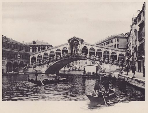 Ponte Di Rialto.  Illustration for a booklet of views of Venice (np, c 1900).