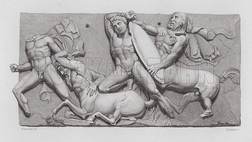 Battle between Lapiths and Centaurs, ancient Greek marble sculpture