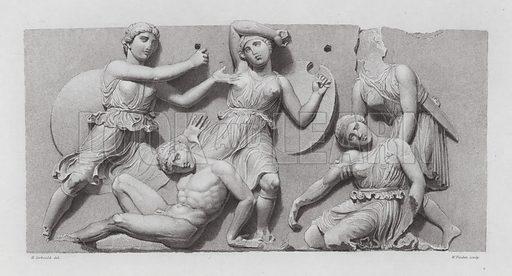 Battle between Greek warriors and Amazons, ancient Greek marble sculpture