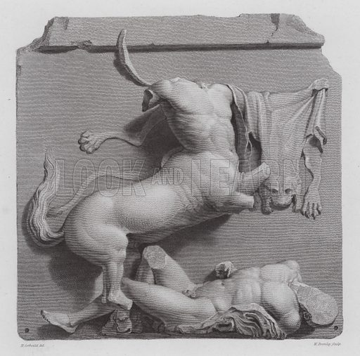 Centaur defeating a Greek warrior, ancient Greek marble sculpture from the Parthenon, Athens