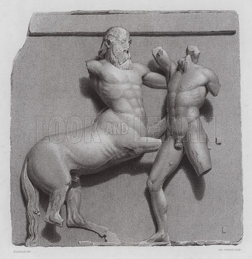 Greek warrior fighting a centaur, ancient Greek marble sculpture from the Parthenon, Athens