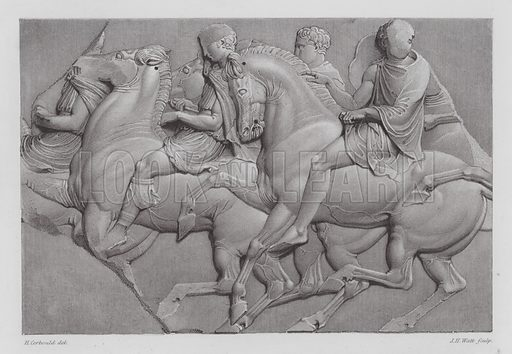 Horsemen, ancient Greek marble relief from the Parthenon Frieze