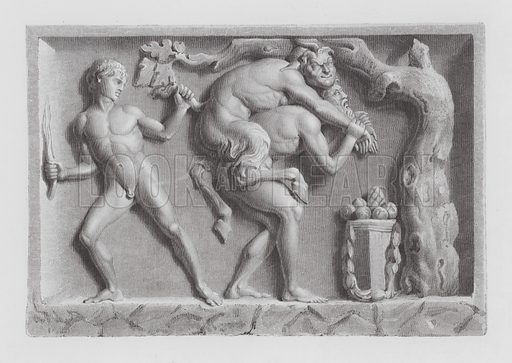 Pan chastised by two satyrs, ancient Roman marble sculpture
