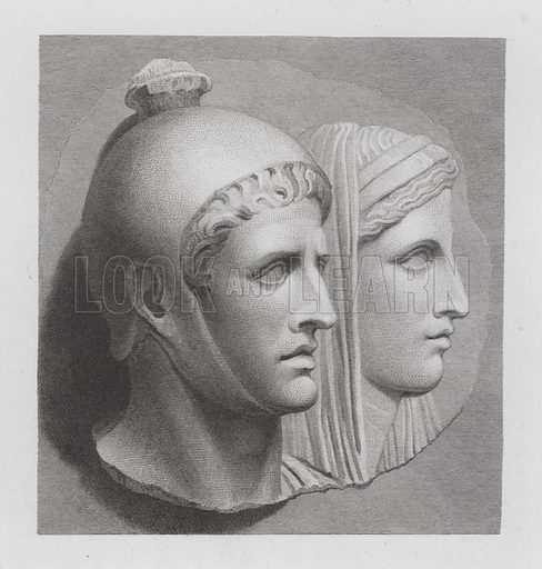 Priest and veiled woman, ancient Roman marble relief