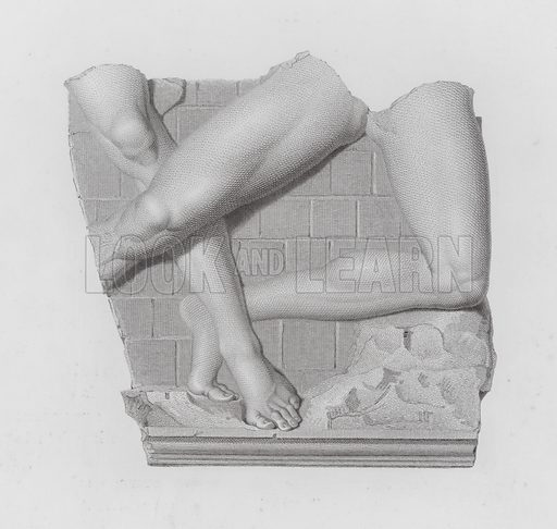 Bas-relief of Theseus and the Minotaur, ancient Greco-Roman marble sculpture