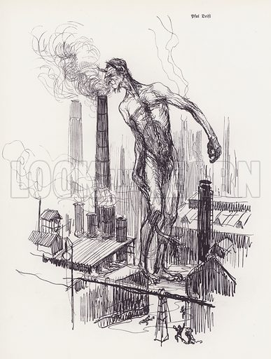 Devil sniffing smoke from a factory chimney