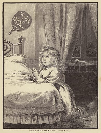 Little girl kneeling beside her bed and saying her prayers