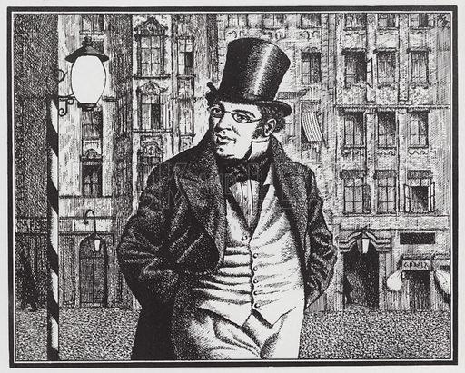 Austrian composer Franz Schubert (1797–1828) leaving Bogner's coffee house on Singerstrasse, Vienna. Illustration from The Oxford Companion to Music (Oxford University Press, London, New York, Toronto, 1938).