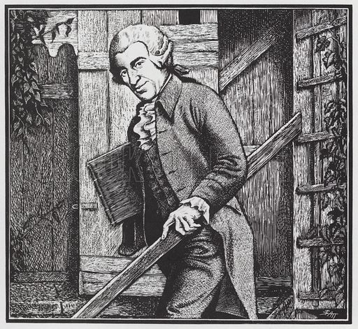 Austrian composer Joseph Haydn (1732–1809) at his summer house. Illustration from The Oxford Companion to Music (Oxford University Press, London, New York, Toronto, 1938).