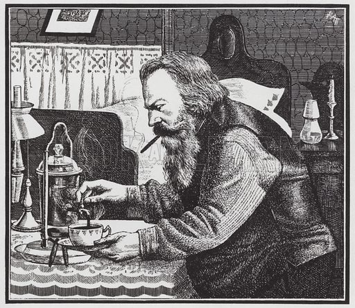 Johannes Brahms beginning his day with a morning cup of coffee