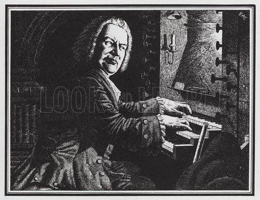 German composer Johann Sebastian Bach (1685–1750) playing the organ. Illustration from The Oxford Companion to Music (Oxford University Press, London, New York, Toronto, 1938).