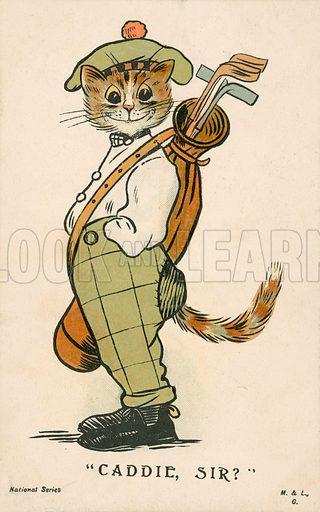 Cat, Scottish golfing caddie. Postcard, early 20th century.