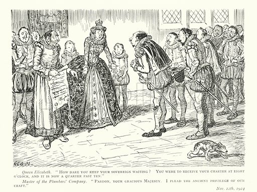 Queen Elizabeth I scolding a plumber for turning up late. Illustration from Some More Drawings by George Morrow (Methuen & Co Ltd, London, published in association with Punch, 1928).