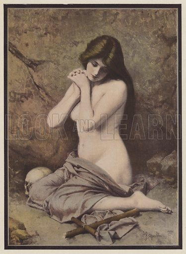 Repentant Mary Magdalene. Illustration for El Desnudo en el Arte (M Uson, 1906).