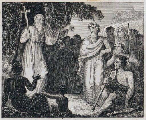 St Patrick converting the Irish to Christianity. Illustration from True Stories from Ancient History by Maria Elizabeth Budden (John Harris, London, c1830).