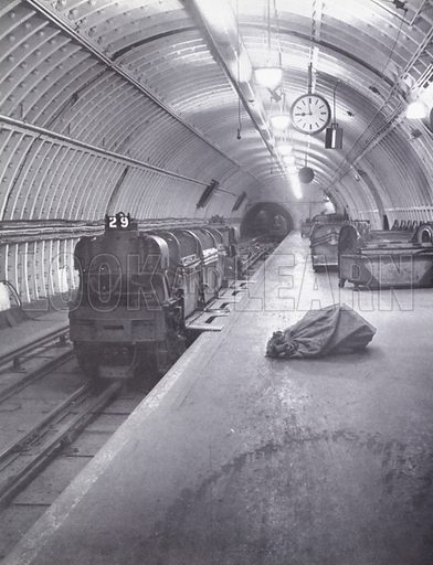 Royal Mail underground train.  Illustration for My Little London Book prepared and photographed by Gilbert Cousland (Collins, 1936).
