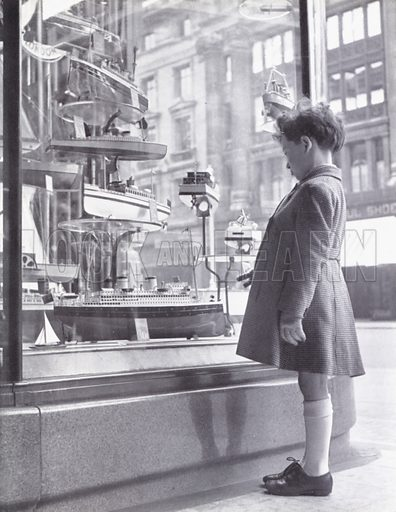Boy looking at model ships in a London shop window.  Illustration for My Little London Book prepared and photographed by Gilbert Cousland (Collins, 1936).