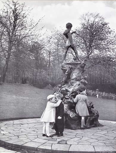Peter Pan statue in Kensington Gardens.  Illustration for My Little London Book prepared and photographed by Gilbert Cousland (Collins, 1936).