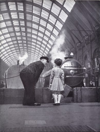 Boy at London railway terminus.  Illustration for My Little London Book prepared and photographed by Gilbert Cousland (Collins, 1936).