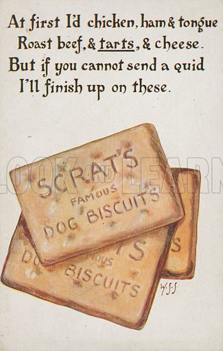 Comic postcard on a food related theme.  One of a collection of over 300.  Early 20th century. Signed: WSS.