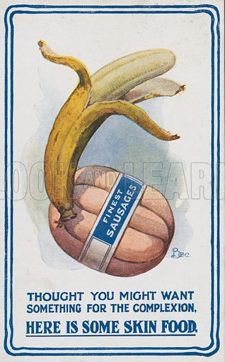 Comic postcard on a food related theme.  One of a collection of over 300.  Early 20th century. Signed: Bee.