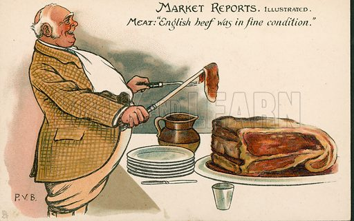Comic postcard on a food related theme.  One of a collection of over 300.  Early 20th century. Signed PVB.