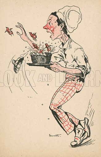 Comic postcard on a food related theme.  One of a collection of over 300.  Early 20th century.  Signature illegible.
