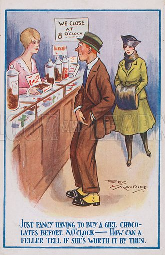 Comic postcard on a food related theme.  One of a collection of over 300.  Early 20th century.
