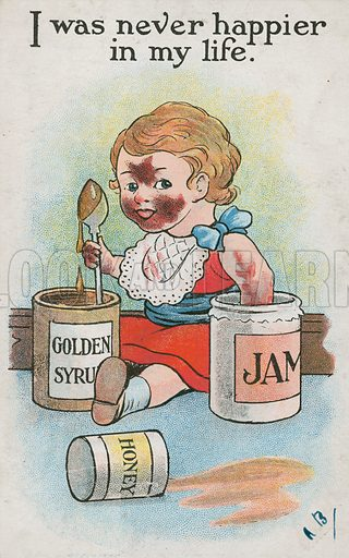Comic postcard on a food related theme.  One of a collection of over 300.  Early 20th century. Signed: AB.
