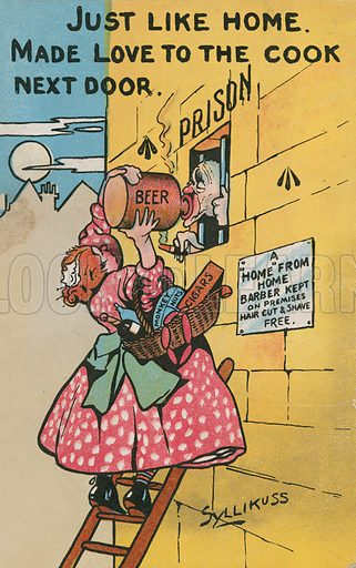 Comic postcard on a food related theme.  One of a collection of over 300.  Early 20th century. Signed: Syllikuss.