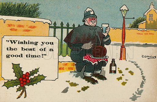 Comic postcard on a food related theme.  One of a collection of over 300.  Early 20th century.  Signed: Comicus.
