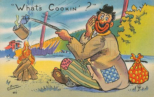 Comic postcard on a food related theme.  One of a collection of over 300.  Early 20th century.  Signature illegible,.