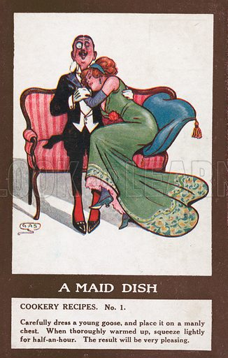 Comic postcard on a food related theme.  One of a collection of over 300.  Early 20th century. Signed; GAS.