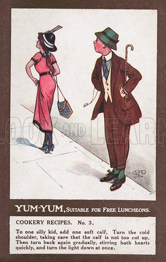 Comic postcard on a food related theme.  One of a collection of over 300.  Early 20th century.  Signed: GAS.