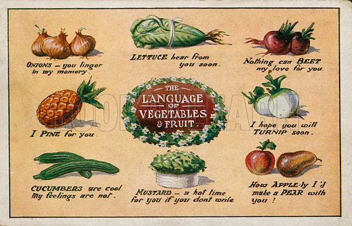 The Language of Vegetables and Fruit.  Comic postcard on a food related theme.  One of a collection of over 300.  Early 20th century.