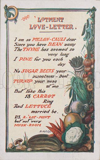 The Allotment Love Letter.  Comic postcard on a food related theme.  One of a collection of over 300.  Early 20th century.