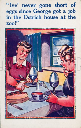 Comic postcard on a food related theme.  One of a collection of over 300.  Early 20th century.  Signed: SH.
